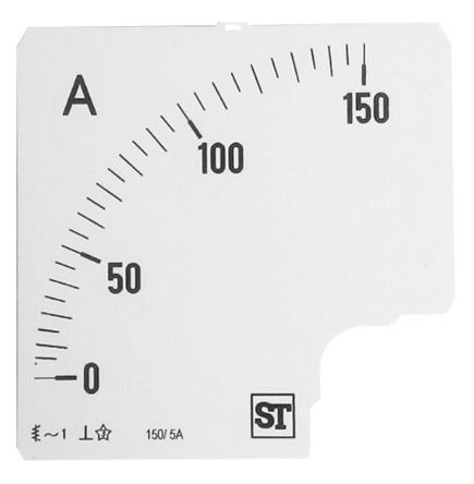 Sifam Tinsley Analogue Ammeter Scale, 150A, for use with 96 x 96 Analogue Panel Ammeter