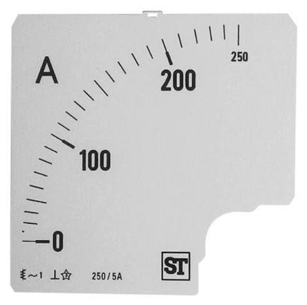 Sifam Tinsley Analogue Ammeter Scale, 250A, for use with 96 x 96 Analogue Panel Ammeter