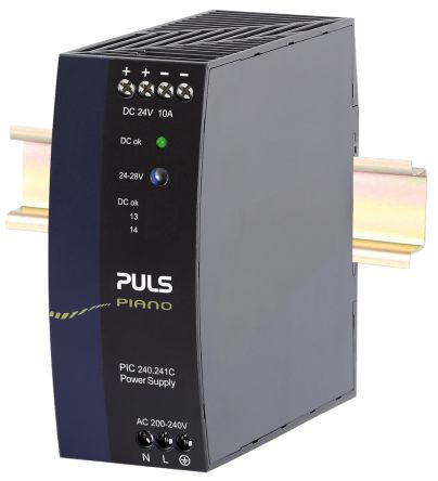 PULS, PIANO DIN Rail Power Supply, 24V dc Output Voltage, 10A Output Current