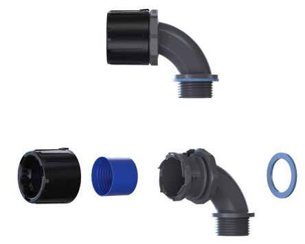 90° Elbow Cable Conduit Fitting, Black 21mm nominal size IP66, IP67, IP68, IP69 M20 product photo