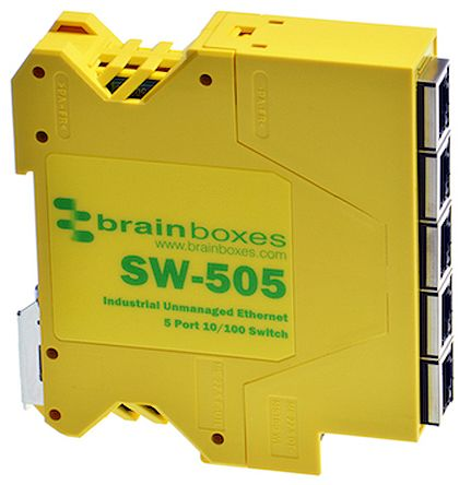Brainboxes Ethernet Switch for use with Ethernet Network 2 x 5 x Ethernet, RJ45, USB