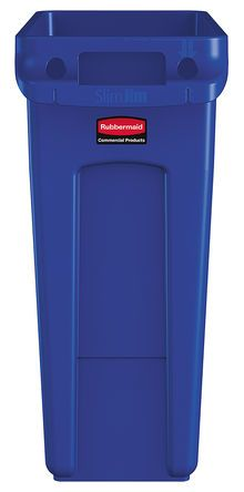 Rubbermaid Commercial Products Slim Jim 61L Blue High-Quality Resin Blend Waste Bin