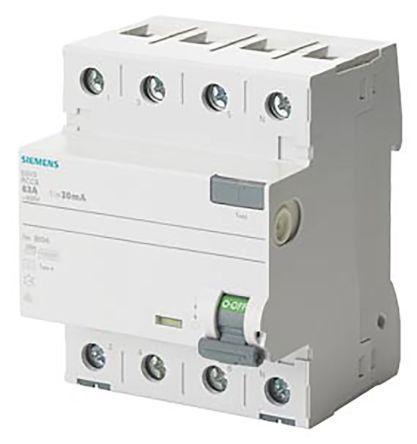 5SV3342-6 | Siemens RCD/FI-Schalter, 3P + N 25 A, Empfindlichkeit ...