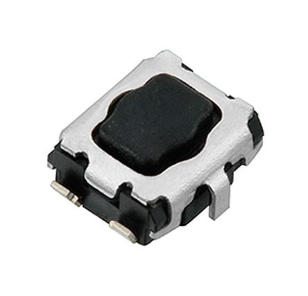 Black Push Plate Tact Switch, SPST 20 mA @ 15 V dc 2.2mm Surface Mount