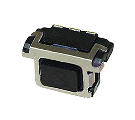 Black Push Plate Tact Switch, SPST 20 mA @ 15 V dc 2.2mm Edge Mount