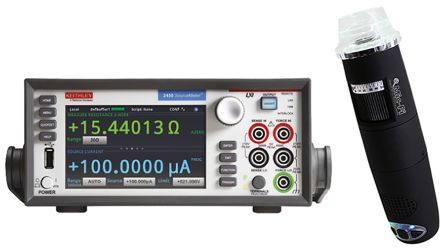 Keithley 2450 Sourcemeter + WiFi Microscope, 1 Ch, 20 Ω → 200 MΩ ±10 nA → ±1 A