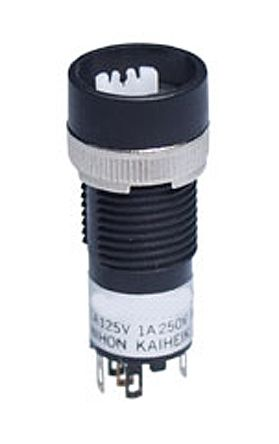 NKK Switches Single Pole Double Throw (SPDT) Momentary Push Button Switch, 12.3 (Dia.)mm, Bushing, 30 V dc, 125 V ac,