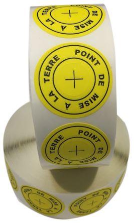 RS PRO Yellow/Black Paper ESD Label, POINT DE MISE A LA TERRE-Text 36 mm x 36 (Dia.)mm