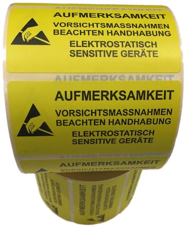 RS PRO Yellow/Black Paper ESD Label, AUFMERKSAMKEIT-Text 37 mm x 76mm