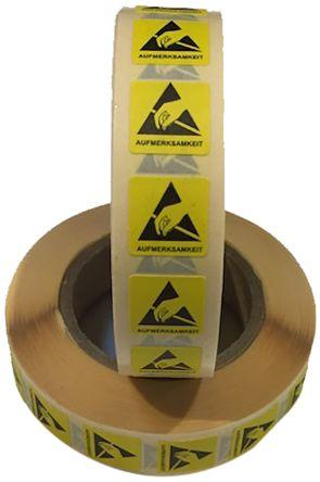 RS PRO Yellow/Black Paper ESD Label, AUFMERKSAMKEIT-Text 12 mm x 12mm