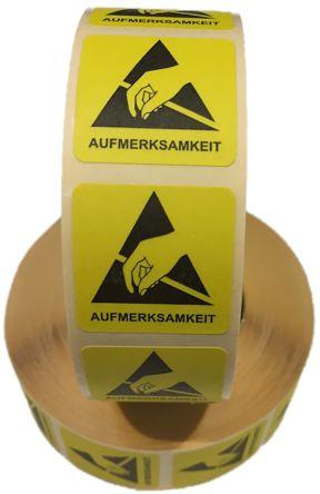 RS PRO Yellow/Black Paper ESD Label, AUFMERKSAMKEIT-Text 25 mm x 25mm