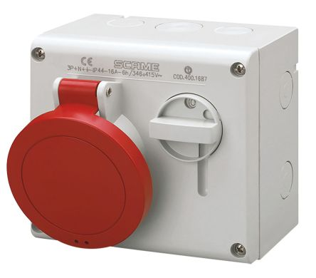 Switchable IP44 Industrial Interlock Socket 3P+N+E, Earthing Position 6h, 16A, 415 V product photo