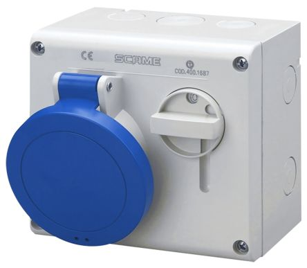 RS PRO Switchable IP44 Industrial Interlock Socket 2P+E, Earthing Position 6h, 32A, 250 V