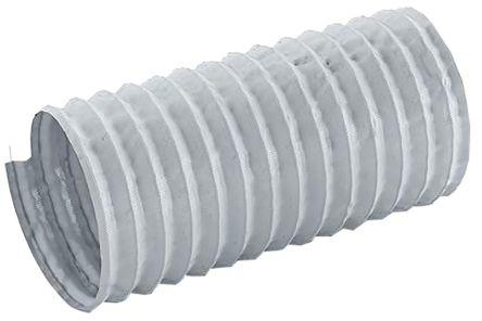 Merlett Plastics PET, PVC 12m Long Grey Flexible Ducting Reinforced, 51mm Bend Radius , Applications Fumes, Warm Air