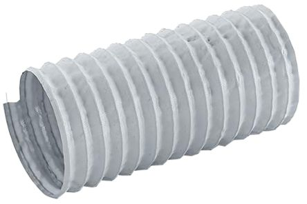 Merlett Plastics PET, PVC 12m Long Grey Flexible Ducting Reinforced, 76mm Bend Radius , Applications Fumes, Warm Air