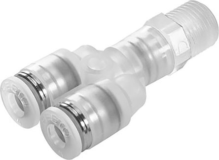 Festo Pneumatic Double Y Threaded-to-Tube Adapter, R 1/8 Male Thread, 8mm Tube Connection