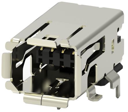 TE Connectivity Surface Mount Right Angle Mini I/O Connector Female, 8 Way, Shielded