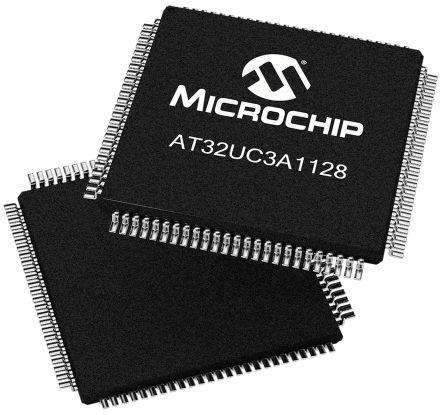 Microchip AT32UC3A1128-AUT, 32bit AVR32 Microcontroller, 66MHz, 128 kB Flash, 100-Pin TQFP