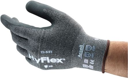 Ansell HyFlex Grey, White Cut Resistant Yarn Polyurethane-Coated Reusable Gloves