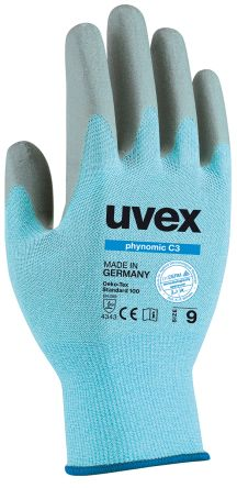 Uvex Phynomic Blue Cut Resistant Elastane, Glass Polyamide, HPPE Foam-Coated Reusable Gloves