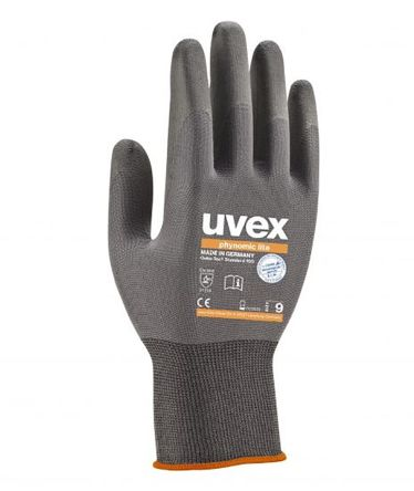 Uvex Phynomic Lite Grey General Purpose Elastane, Polyamide Aqua Polymer-Coated Reusable Gloves