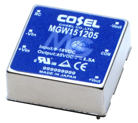 Cosel MGW 15W Isolated DC-DC Converter PCB Mount, Voltage in 18 → 36 V dc, Voltage out 5V dc