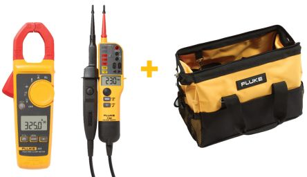 Fluke 325 Clampmeter, T150 Voltage / Continuity Tester and C550 Toolbag Bundle, Max Current 400A ac, 400A dc