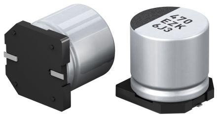 Panasonic Hybrid Conductive Polymer Aluminium Capacitor 47μF 25V dc 5mm C ZK Series Aluminium, Surface Mount Hybrid