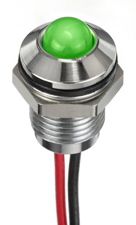 Prominent Indicator Panel Mount, 8mm Mounting Hole Size, Green LED, Lead Wires Termination, 5 mm Lamp Size, 24 V dc