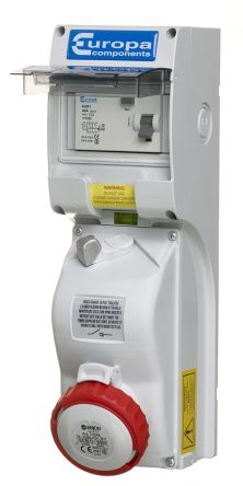 Switchable IP44, IP65 Industrial Interlock Socket 3P+N+E, Earthing Position 6h, 32A, 400 V product photo
