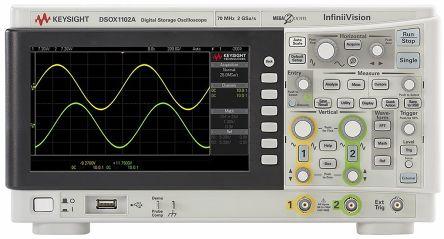 Keysight Technologies 1000 X Series DSOX1102A Digital Oscilloscope, Bench, 1 (Digital), 2 (Analog) Channels, 70MHz