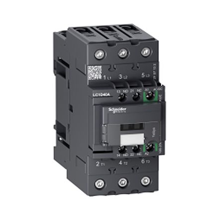 TeSys D Green LC1D 3 Pole Contactor, 3NO, 12 A, 5.5 kW V ac @ 380 → 400, 48 → 130 V ac/dc Coil