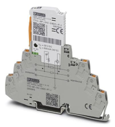 Phoenix Contact 55.2 V dc 10 (Discharge)kA TTC-6P-1X2-48DC-PT-I Surge Protection Device, DIN Rail Mounting