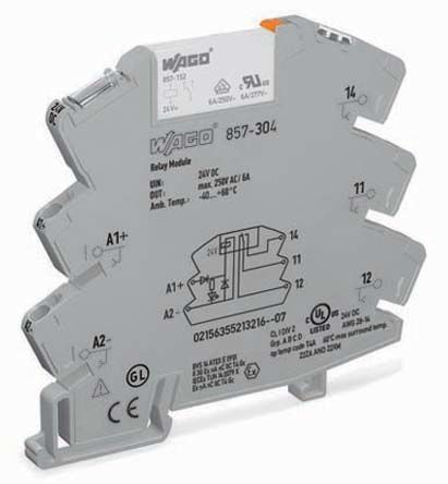 Wago Non-Latching Relay DIN Rail, 24V dc Coil, 10 mA Miniature Relay