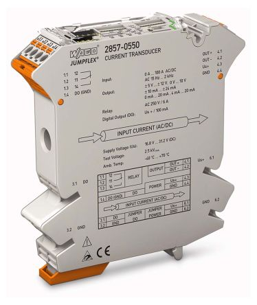 Wago Current Transducer Signal Conditioner, -100 → 100 (DC) A, 500 mA → 100 A (AC) Input