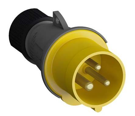 ABB Easy & Safe Series, IP44 Yellow Cable Mount 2P+E Industrial Power Plug, Rated At 16A, 100 → 130 V