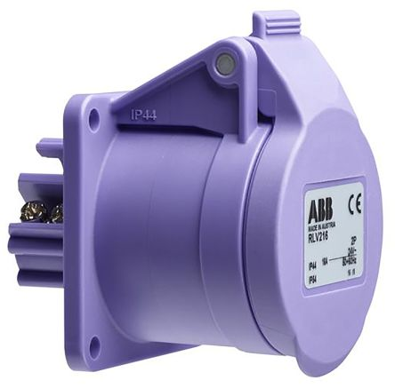 ABB Easy & Safe Series, IP44 Purple Surface Mount 3P Industrial Power Socket, Rated At 16A, 20 → 25 V ac