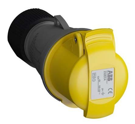 ABB Easy & Safe Series, IP44 Yellow Cable Mount 2P+E Industrial Power Socket, Rated At 32A, 100 → 130 V