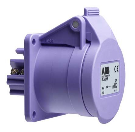 ABB Easy & Safe Series, IP44 Purple Surface Mount 2P Industrial Power Socket, Rated At 16A, 20 → 25 V ac
