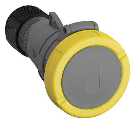 ABB Easy & Safe Series, IP67 Yellow Cable Mount 2P+E Industrial Power Socket, Rated At 32A, 100 → 130 V