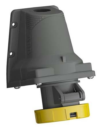 ABB Easy & Safe Series, IP67 Yellow Wall Mount 2P+E Right Angle Industrial Power Socket, Rated At 16A