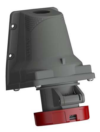 ABB Easy & Safe Series, IP67 Red Wall Mount 3P+E Right Angle Industrial Power Socket, Rated At 32A, 200 → 250 V