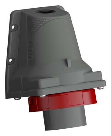 ABB Easy & Safe Series, IP67 Red Wall Mount 3P+E Right Angle Industrial Power Plug, Rated At 32A, 380 → 415 V