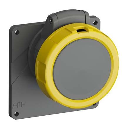 ABB Easy & Safe Series, IP67 Yellow Panel Mount 2P+E Industrial Power Socket, Rated At 16A, 100 → 130 V