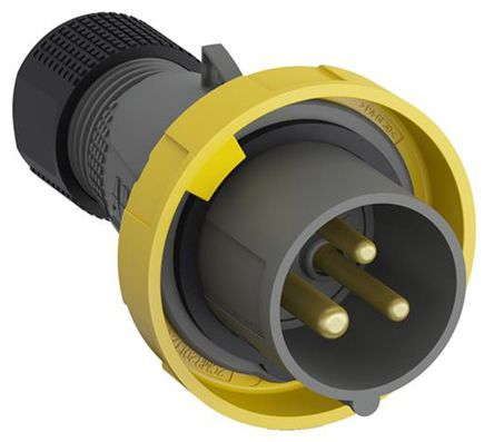ABB Easy & Safe Series, IP67 Yellow Cable Mount 2P+E Industrial Power Plug, Rated At 32A, 100 → 130 V