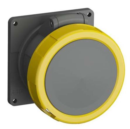 ABB Easy & Safe Series, IP67 Yellow Panel Mount 2P+E Industrial Power Socket, Rated At 32A, 100 → 130 V