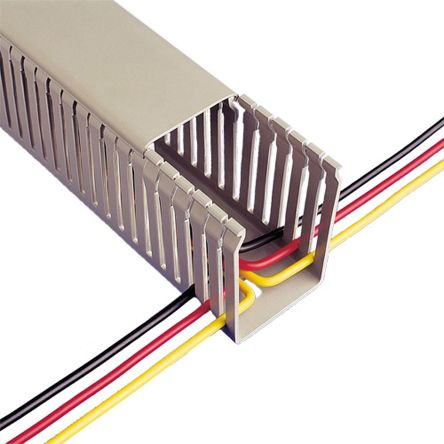 GREY PVC SLOTTED PANEL TRUNKING IN 2 METRE LENGTHS AND VARIOUS SIZES AVAILABLE