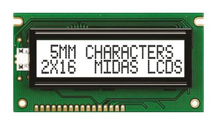 Midas MC21605A6W-FPTLW-V2 A Alphanumeric LCD Display White, 2 Rows by 16 Characters, Transflective