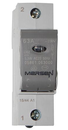 Mersen 63A 1 Pole Bottle Fuse Holder, 65 V dc, 230 V ac