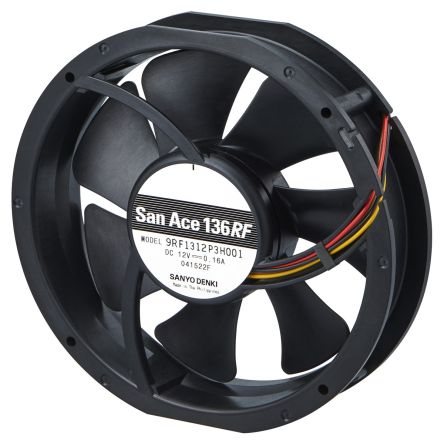 DC Axial Fan, 131x 136 x 28mm, 70.7cfm, 1.8W, 12 V dc (9RF Series)